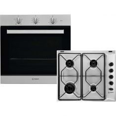 Indesit Aria K002978 Built In Electric Single Oven and Gas Hob Pack - Stainless Steel